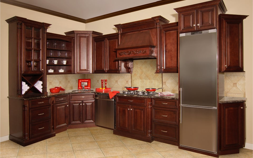 Fabuwood Elite Merlot Glaze1 Stock Kitchen Cabinets