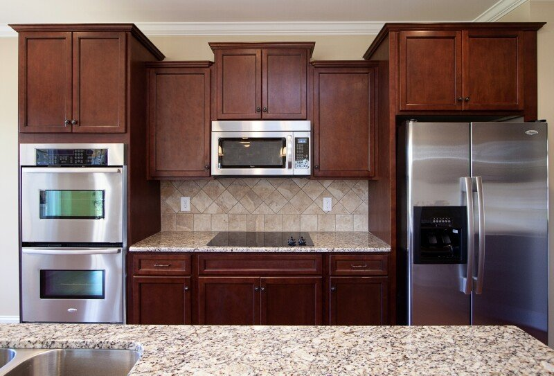 Timberland Merlot Standard Finish1 Stock Kitchen Cabinets