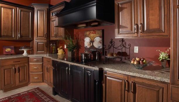 Woodland Albany Cherry Mocha Ebony Custom Kitchen Cabinets