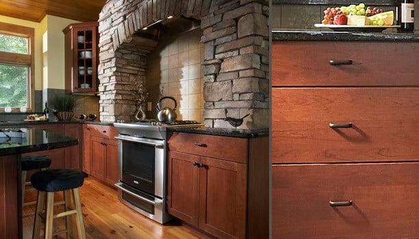Woodland Hill Plus Cherry Chili Custom Kitchen Cabinets