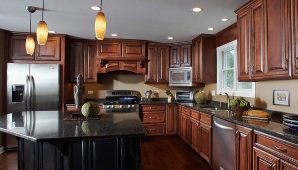 Woodland Provincial Alder Chili Ebony Island Provincial Maple Distress Ruby Custom Kitchen Cabinets