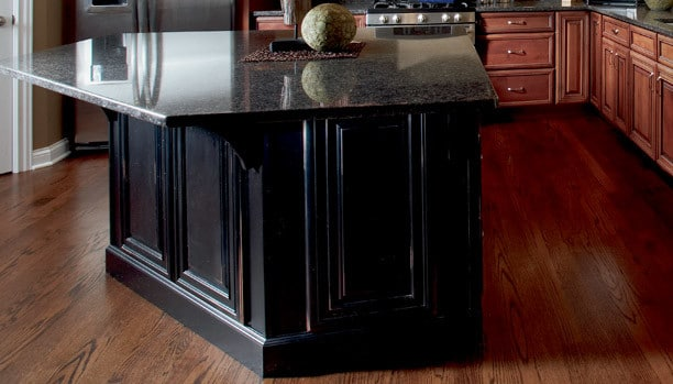 Woodland Provincial Maple Distress Ruby Custom Kitchen Cabinets
