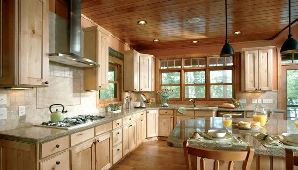 Woodland Rustic Newport Maple Natural Chocolate 2 Custom Kitchen Cabinets