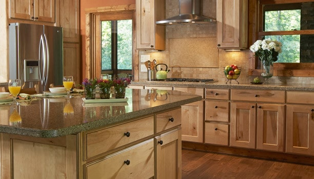 Woodland Rustic Newport Maple Natural Chocolate Custom Kitchen Cabinets
