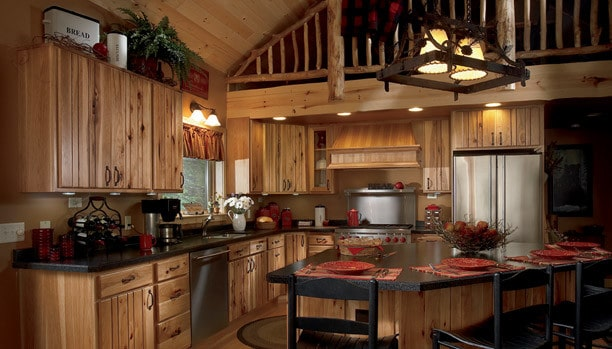 Woodland Rustic Plank Hickory Natural Chocolate Custom Kitchen Cabinets
