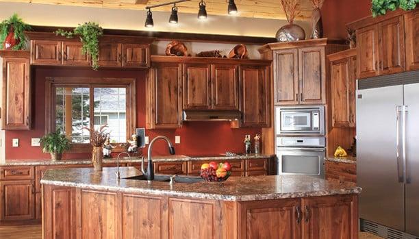 Woodland Rustic Windsor Walnut Natural Custom Kitchen Cabinets